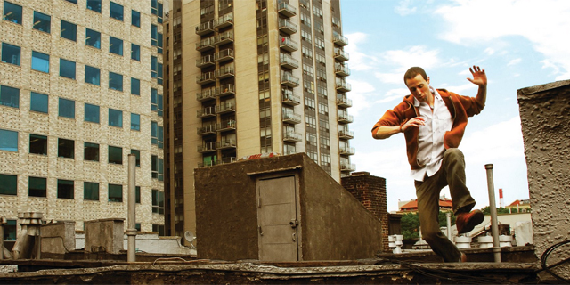 Avi Wisnia NYC Skyline Building Jumping New York City Album Cover Rachel Dobkins Photography Promo Photo Portrait