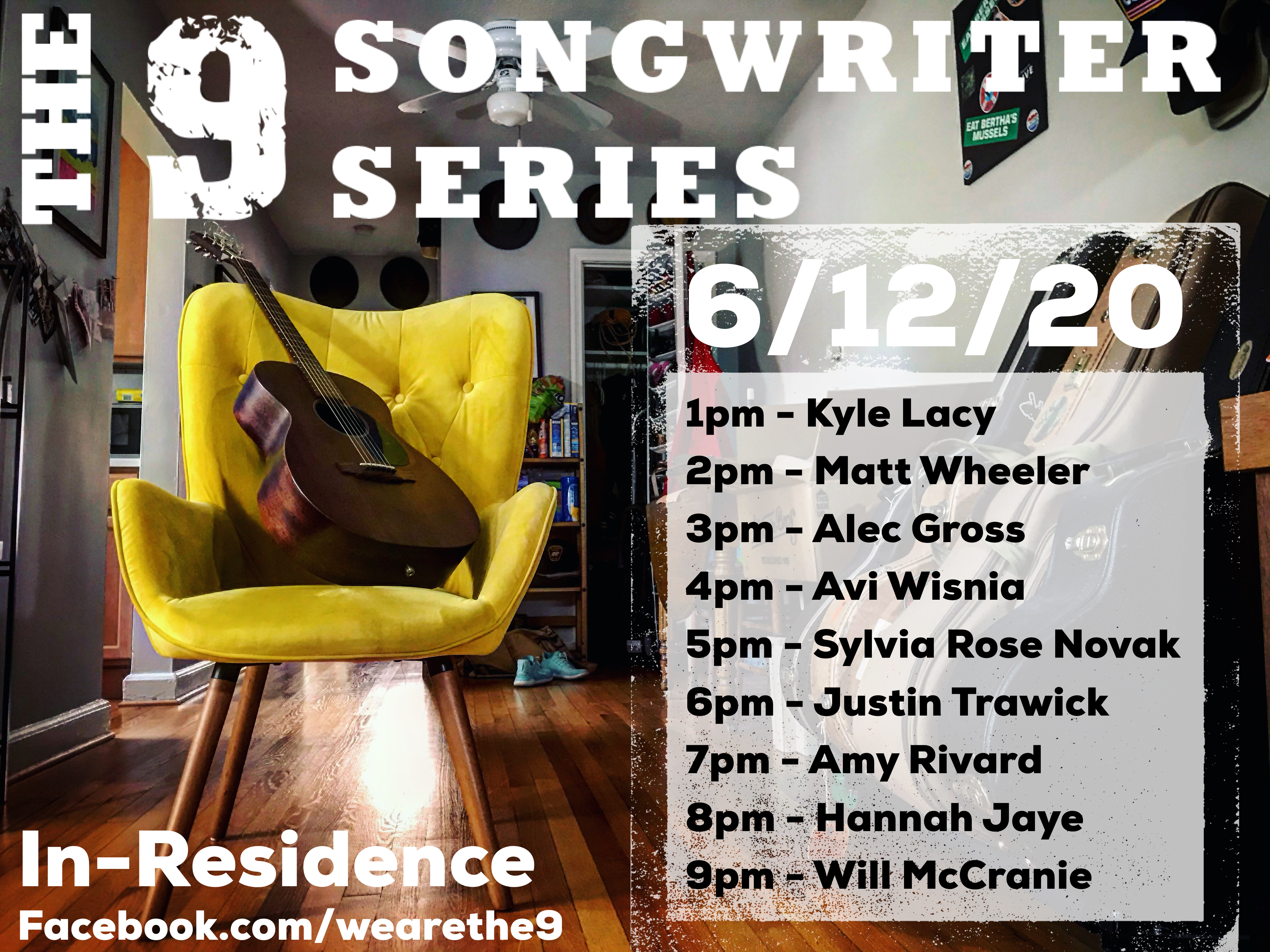 The 9 Songwriters FacebookLive June12 2020 LineUp